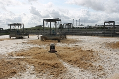 Waste effluent is re-oxygenated before being discharged into the Swale estuary.